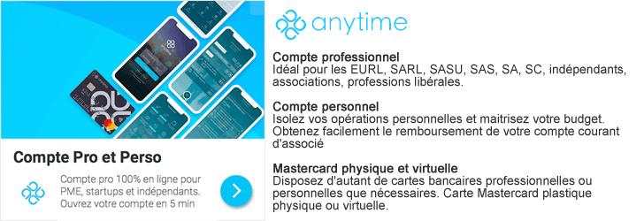compte Anytime: Compte professionnel et compte personnel avec Mastercard
