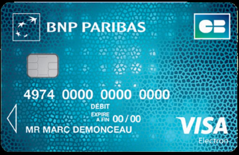 carte visa electron bnp VISA Electron de BNP Paribas avec plafond de paiement de 1000€